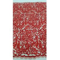 China 125cm Red Embroidered Beaded Lace Fabric , Beaded Bridal Lace By The Yard wholesale