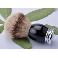 China Luxury metal base black handle silver tipped badger hair shaving brush 22mm wholesale