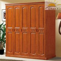 China Durable Vintage Shiny Solid Wood Wardrobe Closet For Bedroom 635MM Width wholesale
