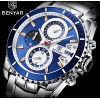 China Wholesale Benyar Men Stainless Steel Band 3 ATM Waterproof Chronograph Quartz Wrist Watches BY-5127M wholesale