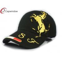 Quality F1 Horse Printed Baseball Caps Black 5 Panel Hat With Metal Buckle Closure for sale