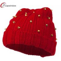 China Berry Hematite Stud Knit Winter Hats Red Elastic For Ladies wholesale