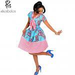 China Cotton African Print Dresses Women Ankara Striped Cloth Stitching Batik Printing Dress wholesale
