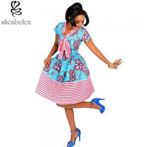 Quality Cotton African Print Dresses Women Ankara Striped Cloth Stitching Batik Printing for sale