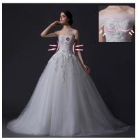 China Custom Detachable Strapless Mesh Appliques Wedding Dress with Diamond Beaded wholesale