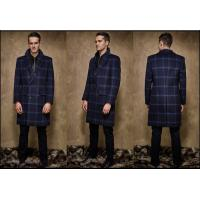 China Single Breasted Button Stand Collar Kahki Winter / Autumn Wool Coat Wide Laple wholesale