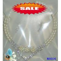 China Women's Silver Color Crystal Casting Chain Jewelry Beaded Pearl Necklaces for Party 20g wholesale