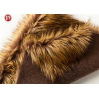 China Gold Raccoon Fluffy Faux Fur Fabric , Soft Faux Fur Fabric For Collar 850 Gsm wholesale