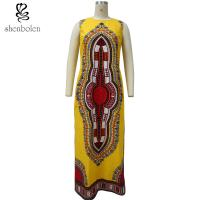 China 100% Cotton Traditional African Print Women's Clothing Dresses With 2 Side Slit wholesale