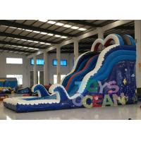 China Children Aqua Blue Game Equipment Inflatable Commercial Water Slide With Pool wholesale