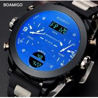 China Boamigo Men Three Time Big Dial Pan Blue Glass Rubber Band Multifunction Chronograph Casual Sport Watch  F905 wholesale