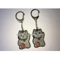 China Promotional glittering fortune cat shape keychains custom for top high grade bags packbag decoration wholesale