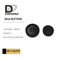 China Large Textured Matt Black Trench Coat Buttons Pattern Design With 4 Holes wholesale