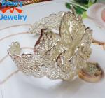 China latest fashion design romantic bride graven big flower charm cuff bridal silver bracelet wholesale