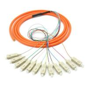 China Orange 12 core SC UPC optical fiber patch cord with CE , multimode fiber patch cord wholesale