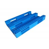 China HDPE Reusable Solid Heavy Duty Plastic Pallets 3 - Skids In Blue Color on sale