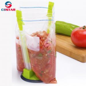 China Plastic Kitchen Easy Open Baggy Holder Racks Hands-Free Baggy Rack Clip Food Storage Bag Holder Best Opener for Freezer wholesale