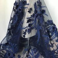 China Navy Blue 3D Flower Lace Fabric with Pearl Beaded Applique for Ladies Dress wholesale