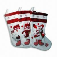 China Christmas Stocking, Made of Non-woven Fabric, Available in White wholesale