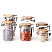 China Stainless Steel Buckle Glass Storage Containers High Borosilicate Glass on sale