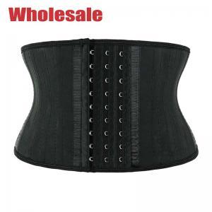 China Black 7 Inches 25 Boned Latex Short Torso Waist Trainer With Hooks wholesale