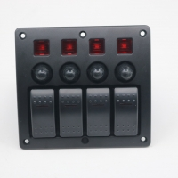 China Auto car marine 12V 4 gang Red LED on-off rocker Switch Panel with circuit breaker fuse wholesale