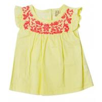 China Girls Summer Infant Baby Clothes Solid Top With Ruffle Sleeve Yellow Color wholesale