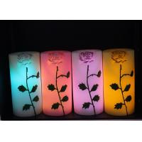 China Rose Carved Wedding Led Candles Battery Operated With Color Changing wholesale