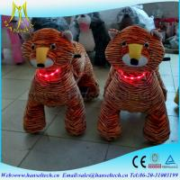 China Hansel 2017 electric motorized soft toys coin operated plush ride on furry animal wholesale