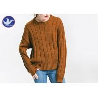 China Anti - Pilling Brown Womens Knit Pullover Sweater Soft Rib Knitting Apparel wholesale