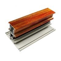 China T Shape Wood Finish Aluminium Profiles Length Customized For Glass Doors wholesale