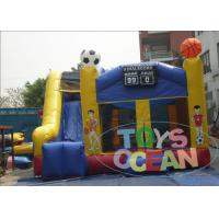China 0.55MM PVC Football Theme Inflatable Moonwalk Combo With Free Repair Kit For Kids wholesale