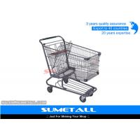 China Wire Metal Supermarket Shopping Cart / 4 Wheel Shopping Trolley Chrome Plated on sale