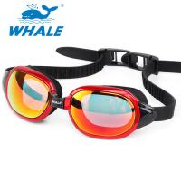 China No Leaking Silicone Swimming Goggles with Mirrored Revo Lens , orange wholesale