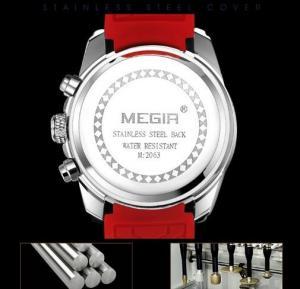 Quality Wholesale Megir Men Silicone Strap Chronograph Quartz Wrist Watches Waterproof for sale