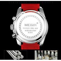 Quality Wholesale Megir Men Silicone Strap Chronograph Quartz Wrist Watches Waterproof 30m Luminous Men Leisure Watch  2063G for sale