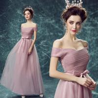 China Pink Off The Shoulder Butterfly Sashes Crepe Gorgeous Evening Dress TSJY136 wholesale