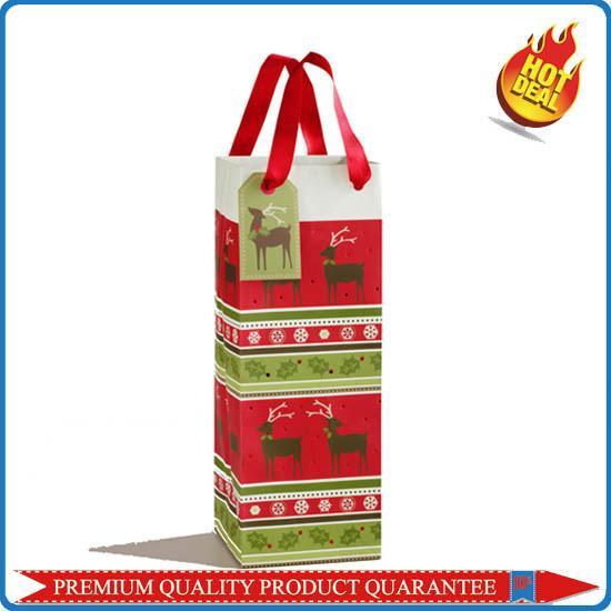 Custom Color Printing Paper Gift Bag For Wine Bottle