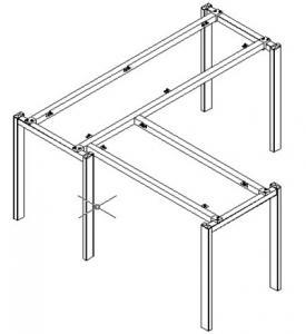 L type metal table frame ,#207