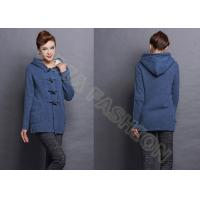 China Blue Womens Wool Sweaters / Ladies Cardigan Sweaters with Pockets and Buttons wholesale