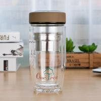 China Eco Friendly Double Wall Glass Water Bottle Wide Mouth Heat Resistance wholesale