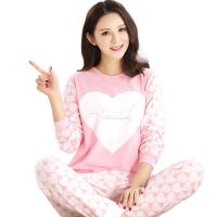 China Spring Fall Ladies Pyjama Sets Pink Girl Long Sleeve Cotton Love Print Pajamas wholesale