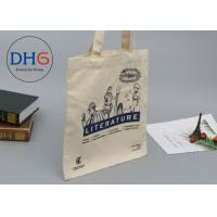 China Large Navy Natural Cotton Canvas Tote Bag Cross Stitching Handle Eco Friendly wholesale
