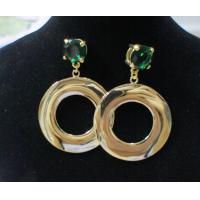 China Shinny OEM /ODM mixed dangle drop earrings with green gemstone(Gold ,silver ,black ,white) wholesale
