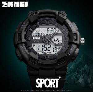 China Powerful Featureg Three Time Display Men Multifunction 5 ATM Outdoor Sport PU Strap Wrist Watch 1189 wholesale