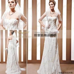 China handmade appliqued wedding dresses,  broomstick style handmade wedding dresses 90023 wholesale