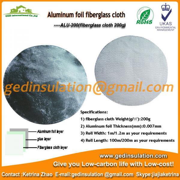 Quality Insulation Materials,Aluminum Fiberglass Cloth Fabric 200g/M2 Fiberglass Fabric for sale