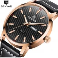 China Benyar Men Genuine Leather Band Waterproof 30m Calendar Week  Display Luminous Quartz Wrist Watch BY-5145 wholesale