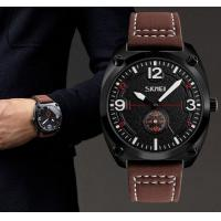 China Creative Aviator Fighter Style Second Men Genuine Leather Strap Quartz Wrist Watches 9155 wholesale