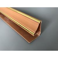 China 5.95m Length Brown PVC Extrusion Profiles With Golden Lines Top Corner Type wholesale